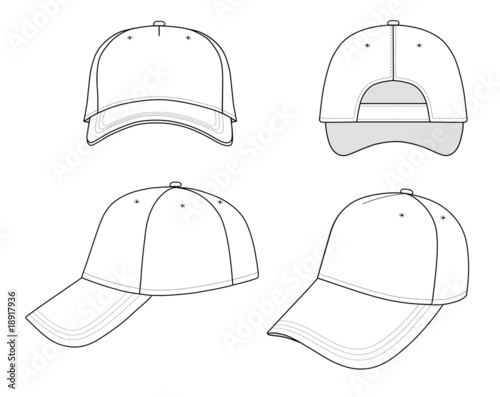 Stampa su Tela  Outline cap vector illustration isolated on white