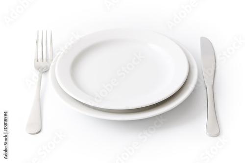 Spoed Foto op Canvas Klaar gerecht Served place setting: empty dinner plate on white background