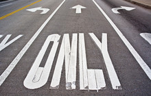 Left Only, Straight Only And Right Only Lanes