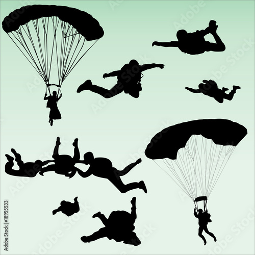 Obraz na plátně parachutists silhouette collection - vector