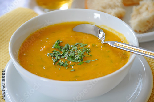 Fotografie, Obraz  A Bowl of Carrot and Lentil Soup