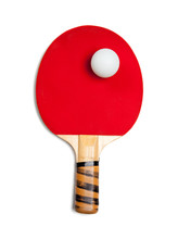 A Red Ping Pong Paddle With Ball On White
