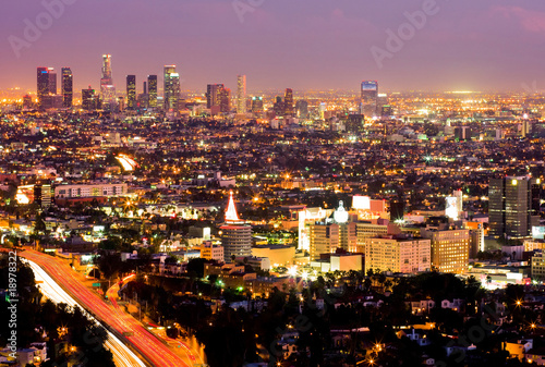 Fotografie, Obraz  Los Angeles and Hollywood at night