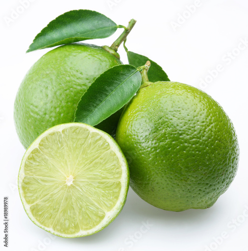 Stampa su Tela Lime with section on a white background