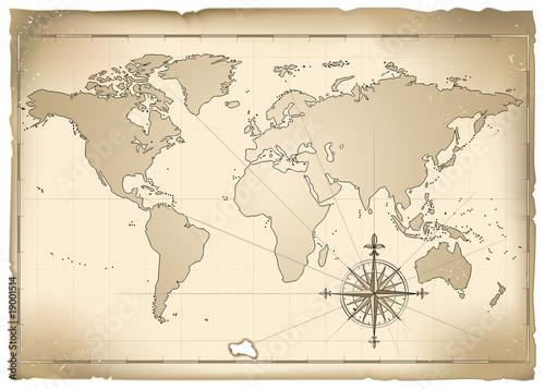 Poster Carte du monde Antica mappa vettoriale
