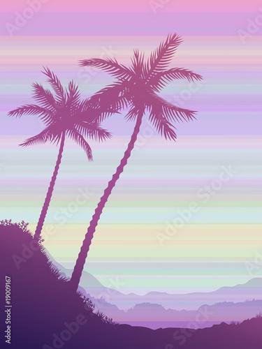 Printed kitchen splashbacks Beige Two palms over pink striped sky (vector landscape)