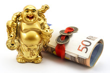 Gold Laughing Buddha With Mone...