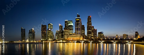 Poster Singapore Singapore City Evening Skyline