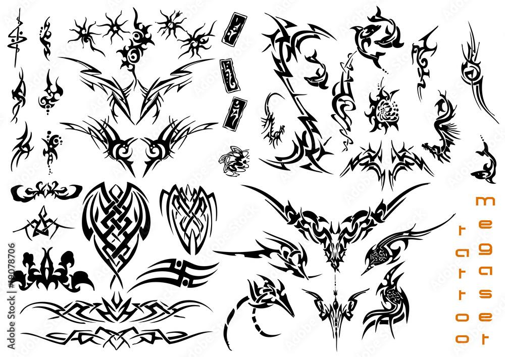 Fototapeta vector illustration tattoo design mega set