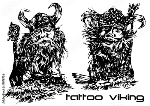 vector illustration tattoo viking (two man) Canvas Print