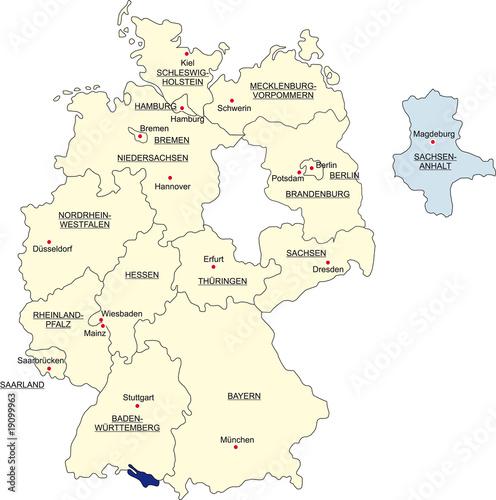 Karte Bundesrepublik Deutschland Sachsen Anhalt Freigestellt