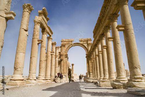 Fotografía Colonnade in roman ruins of Palmyra, Syria