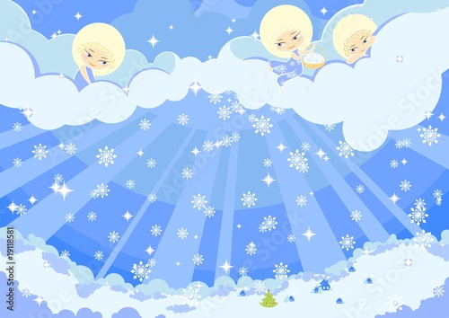 Poster Ciel illustration of three cute angels making the snow over a town