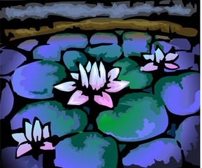 Obraz na Plexi Digital painting of lake with lotus flower