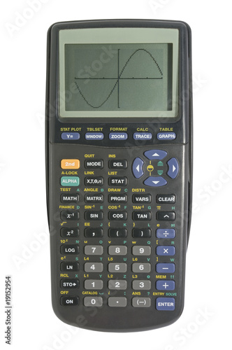 Graphing calculator on white with clipping path - 19152954