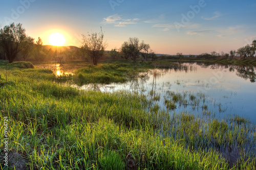 Photo spring sunset landscape