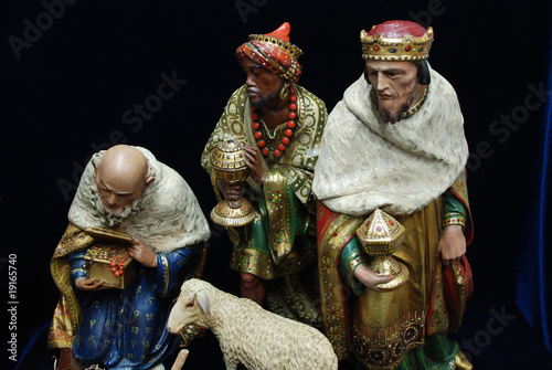 The three Kings from an antique collection of nativity Fototapeta