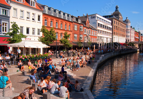Deurstickers Scandinavië Aarhus canal