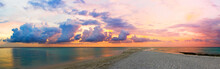 Ocean, Beach And Sunset