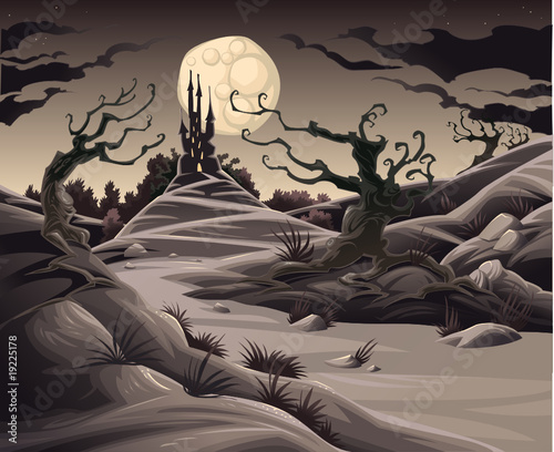 Poster Chambre d enfant Horror landscape. Cartoon and vector illustration.
