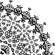 Decorated Black Flower Quadrant