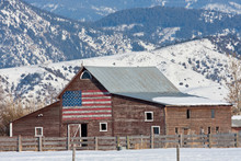Old Barn With American Flag Perspective