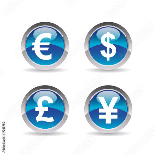 Business Icons Euro Dollar Livre Sterling Yen Buy