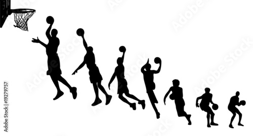 Photo  Basketball sequence silhouettes
