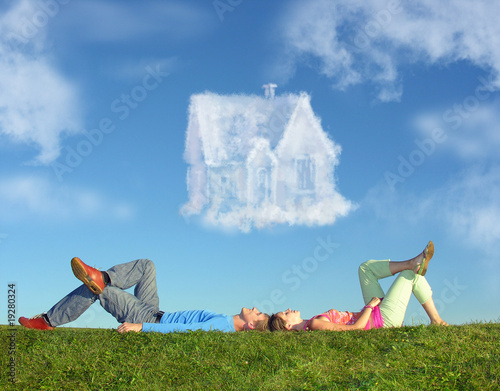 Leinwand Poster lying couple on grass and dream house collage