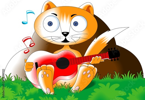 Foto-Stoff - Illustration of a cartoon cat playing guitar (von vishnukumar)