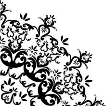 Black Flower Quadrant Ornament