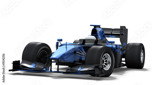 Recess Fitting F1 race car on white - black & blue