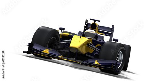 Türaufkleber Schnelle Autos race car on white - blue & yellow