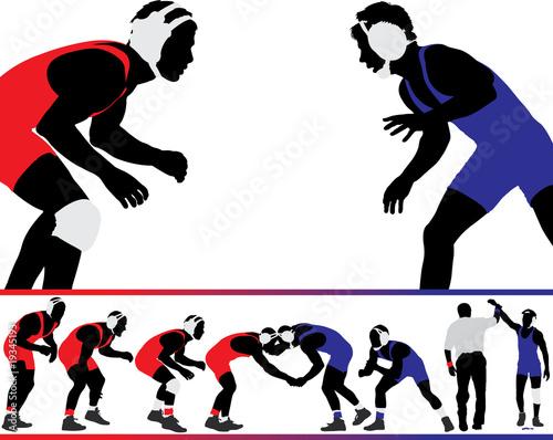 Obrazy Zapasy   wrestling-vector-silhouettes