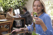 Attractive woman eating lunch