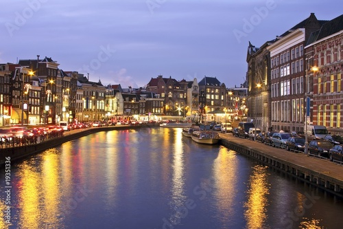 Photo  Amsterdam by night in the Netherlands