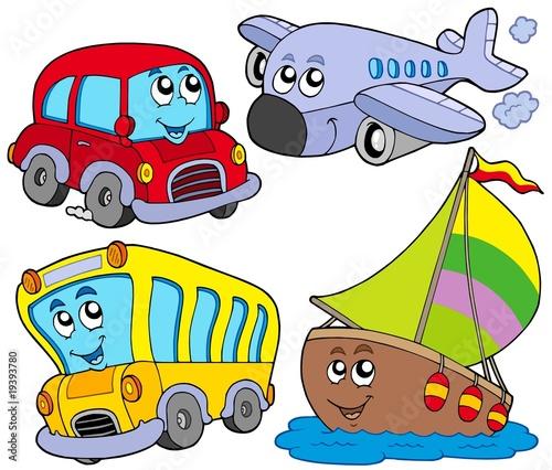 Fotobehang Vliegtuigen, ballon Various cartoon vehicles