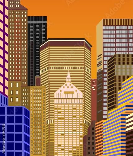 Fototapeta Nowy Jork - wieżowce o zachodzie słońca obraz