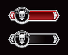 Racing Flags And Skull Red And...