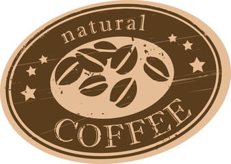 Fototapeta Do kawiarni Grunge rubber stamp with coffee beans