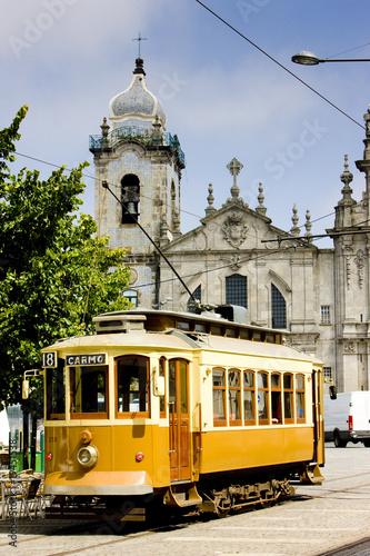 tram in front of Carmo Church, Porto, Portugal