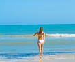 Girl beach run