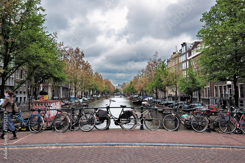 View of the Amsterdam center with bicycles on a bridge #19512373
