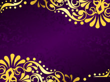 Purple Background With Gold Fi...