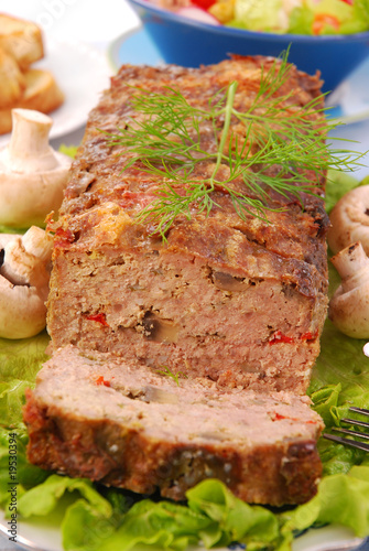 Photo  meatloaf with mushrooms and paprika