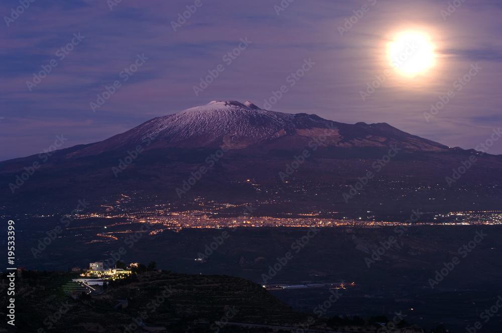 Fényképezés  moonrise Etna