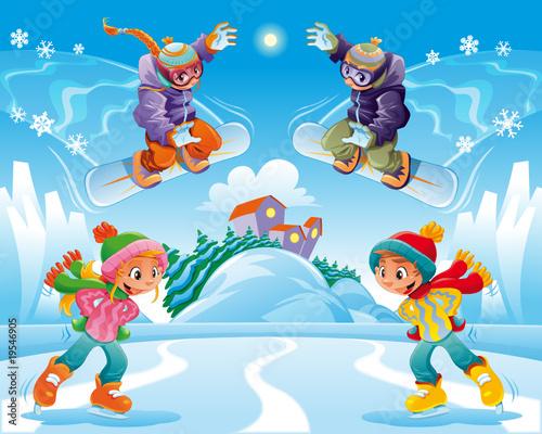 Foto-Stoff - Winter scene. Funny cartoon and vector illustration. (von ddraw)
