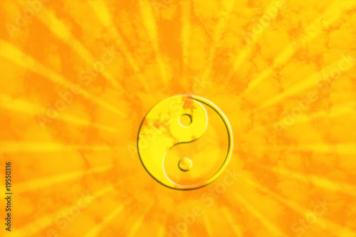 Photo Yin Yan am sonnigen Himmel mit Lichtstrahlen