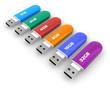 Set of color USB flash drives