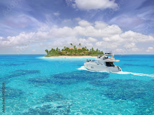Beautiful caribbean view with big yacht (boat ship)